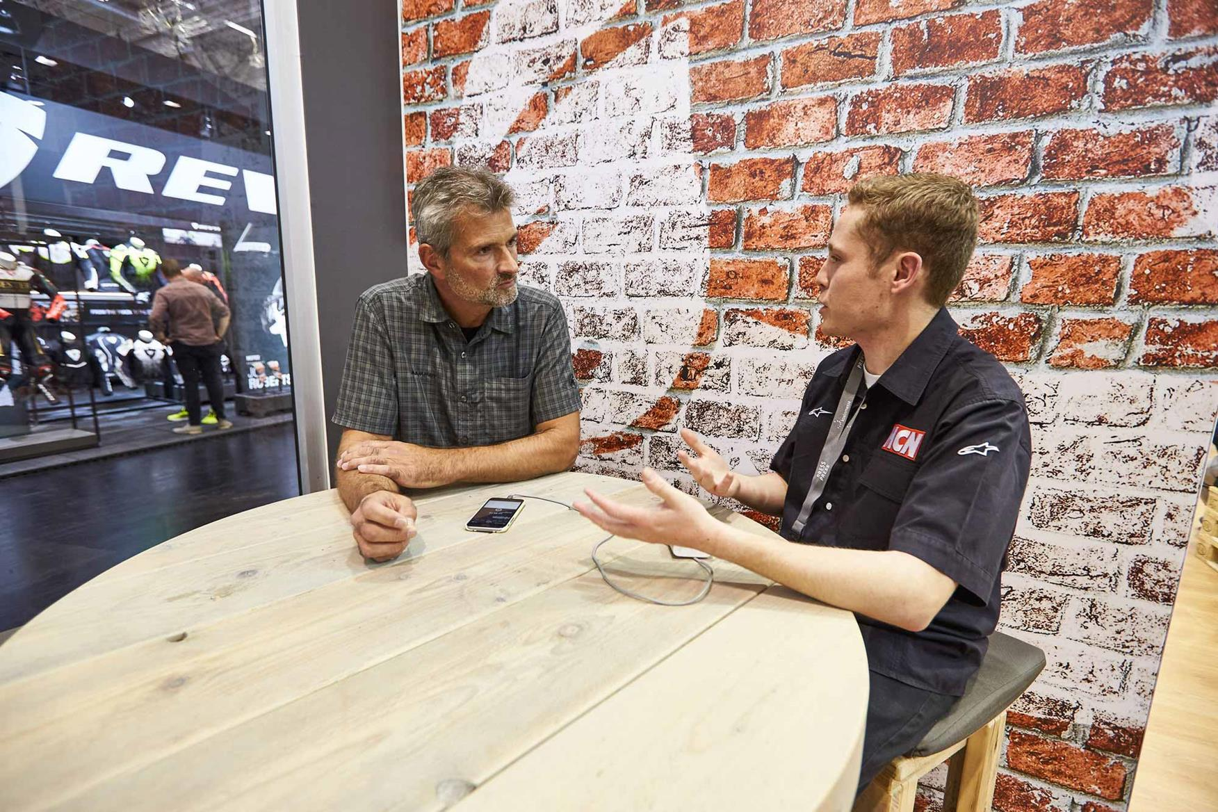 MCN's Dan Sutherland talks with Jurgen Plaschka at Intermot