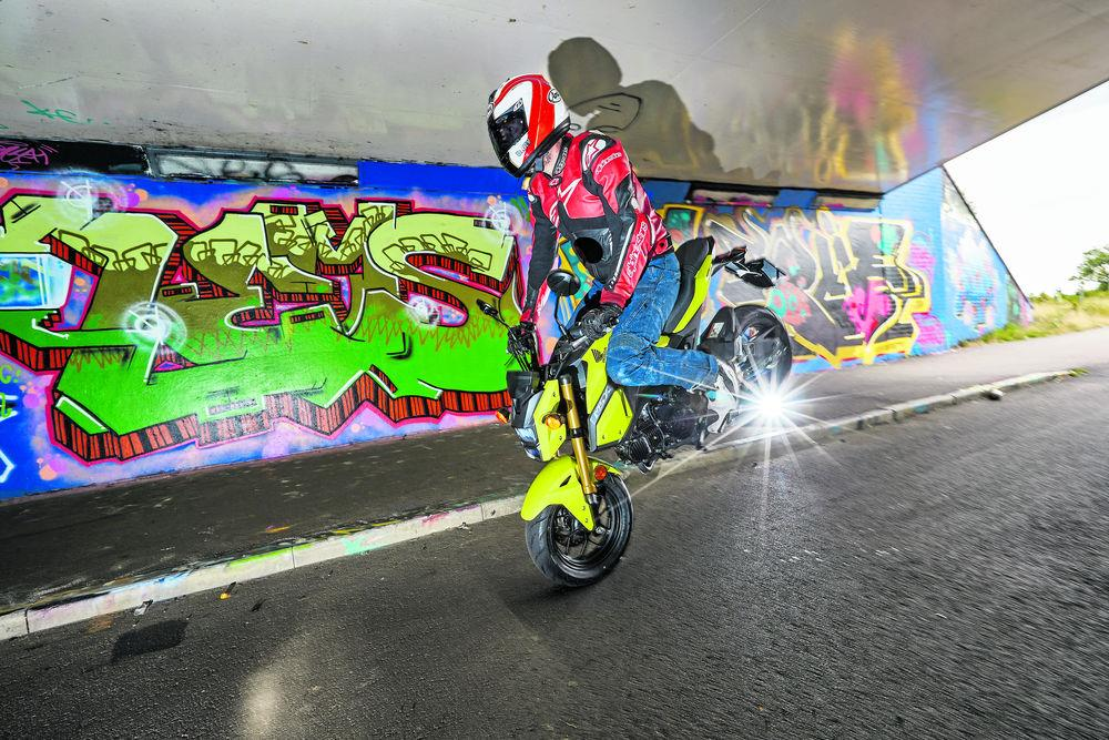 Skids and stoppies are a constant temptation on the Honda MSX125 Grom