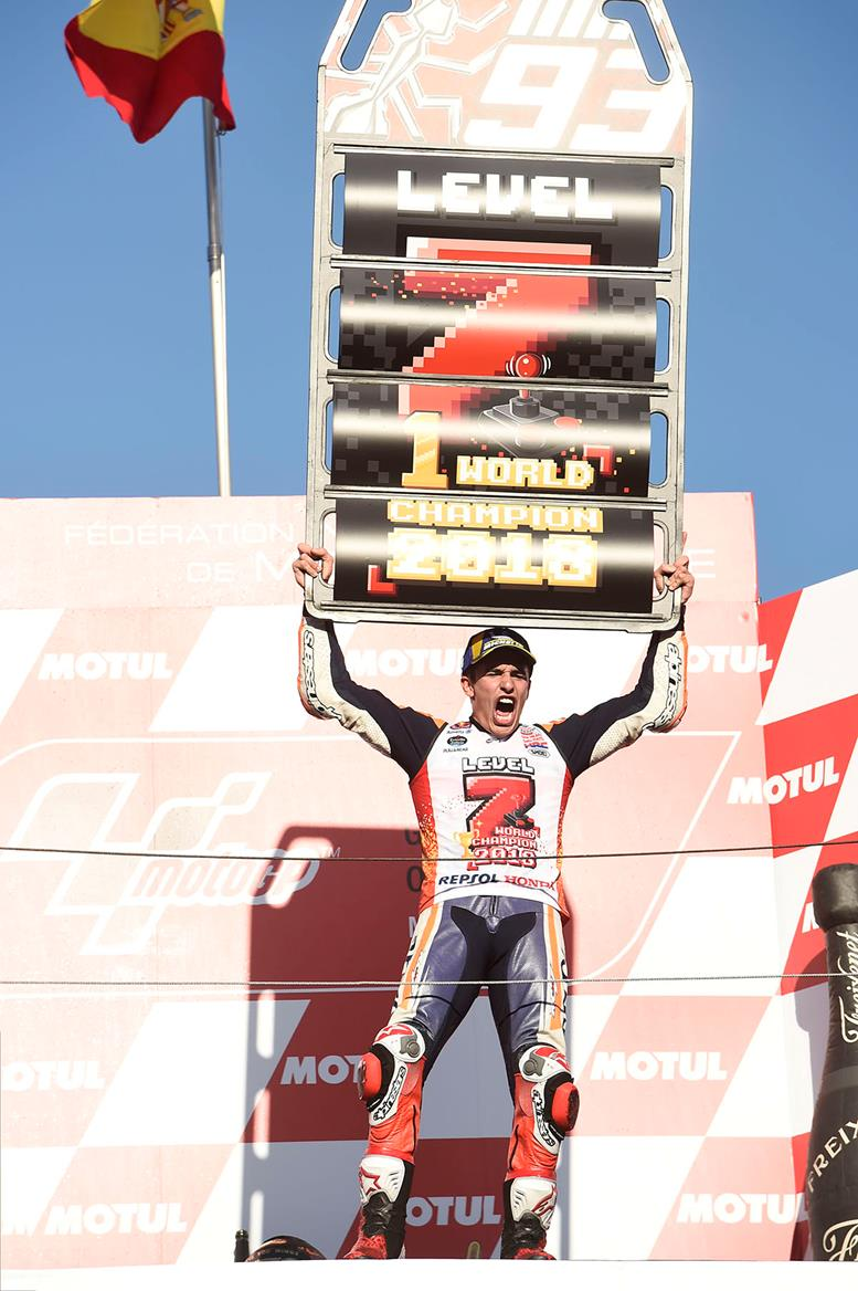 Marc Marquez celebrates his 7th MotoGP championship title win in Japan