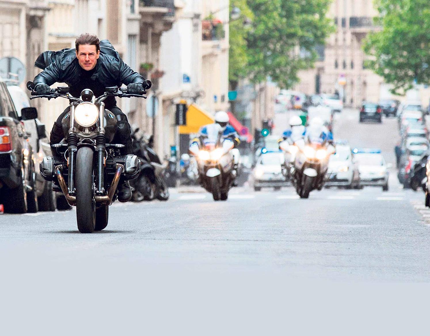Tom Cruise rides a BMW R nine T Scrambler