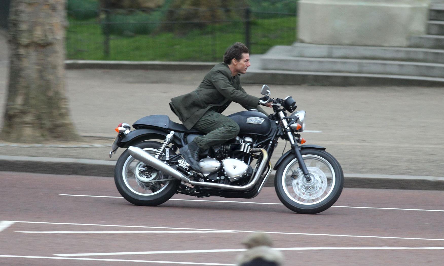 Tom Cruise riding a Triumph Thruxton