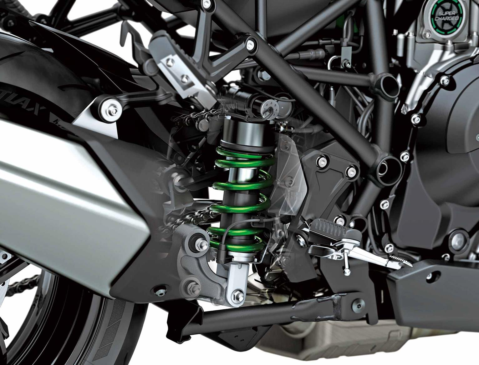 The rear shock on the Kawasaki Versys 1000