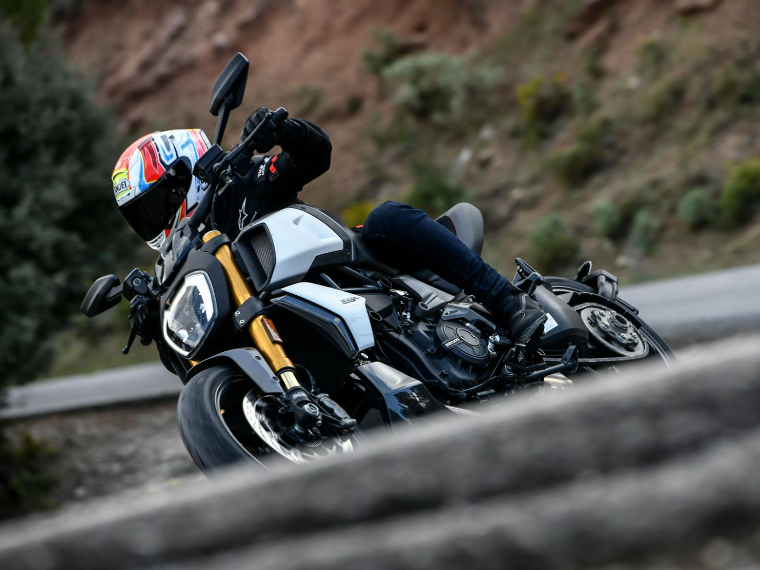 Action cornering shot on 2019 Ducati Diavel
