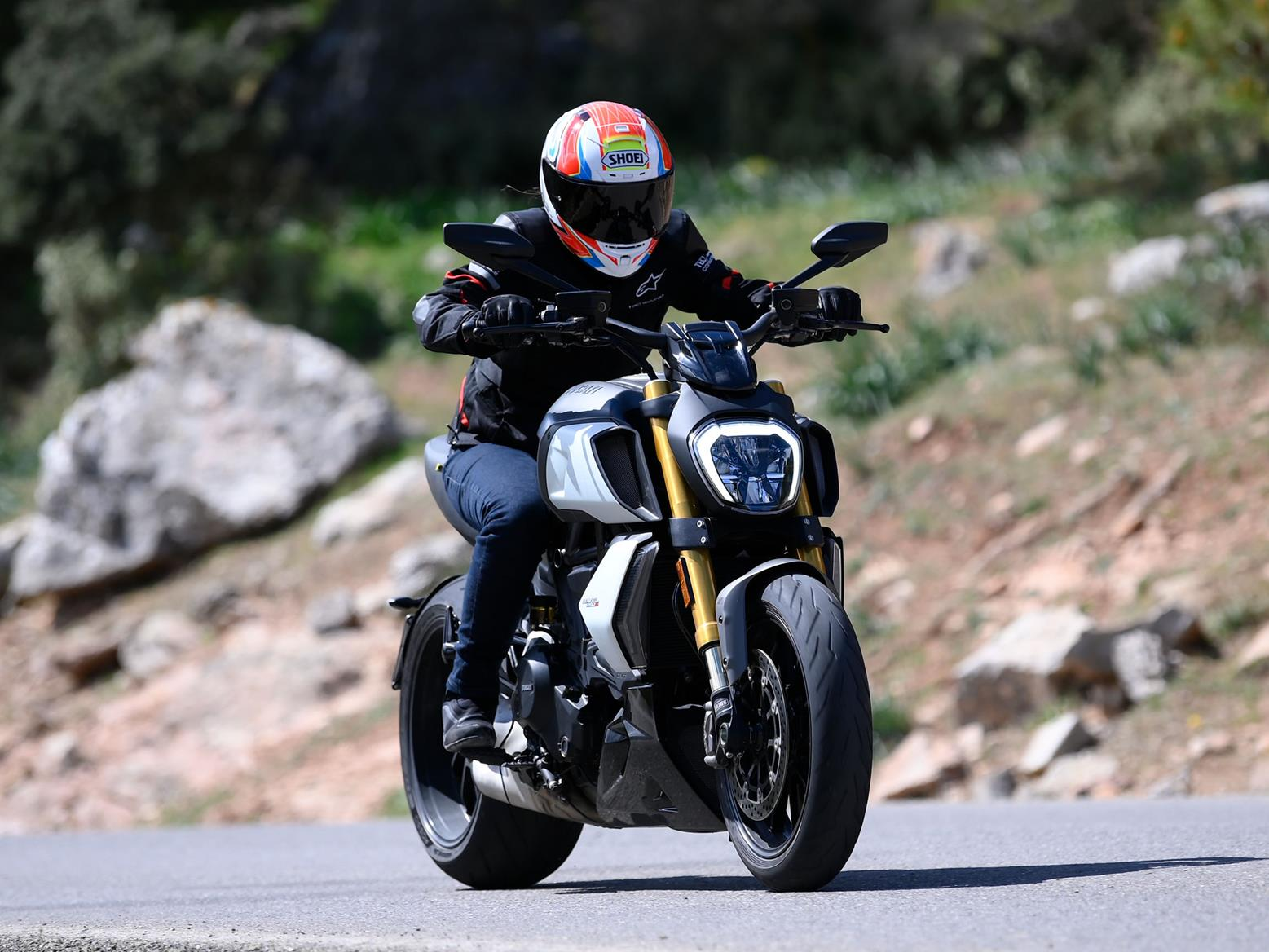 MCN's Emma Franklin testing the 2019 Ducati Diavel