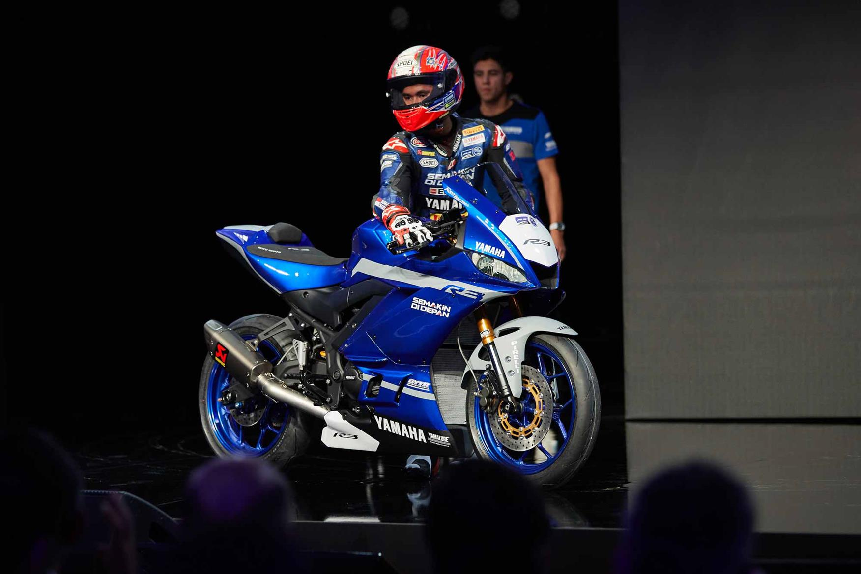 The Yamaha R3 GYTR ridden on stage