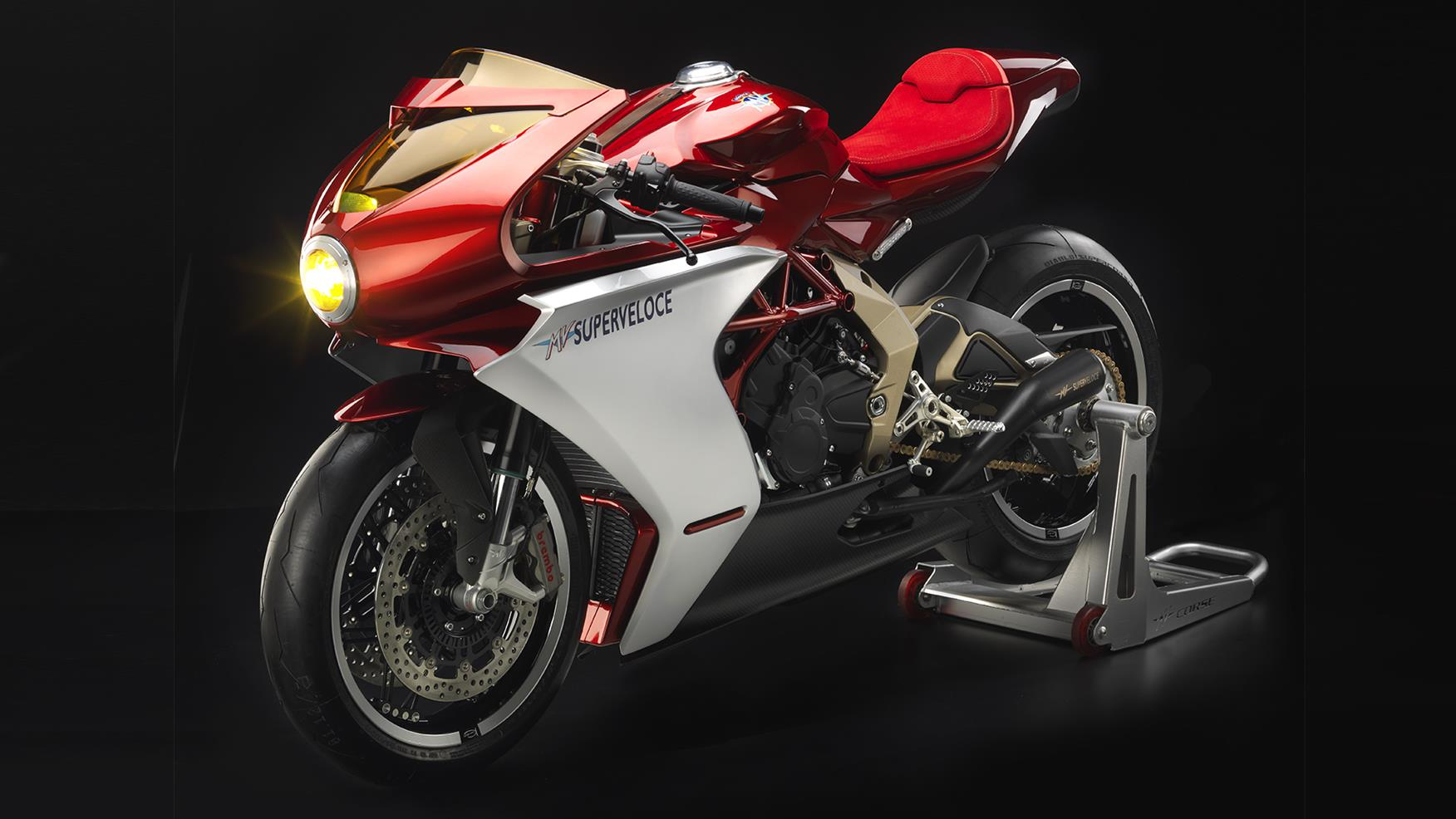 A frontal view of the MV Agusta Superveloce 800 Serie Oro