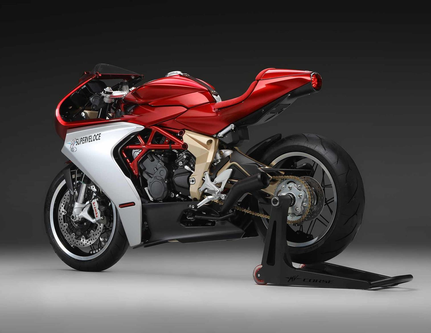 Rear view of 2020 MV Agusta Superveloce 800 Serie Oro