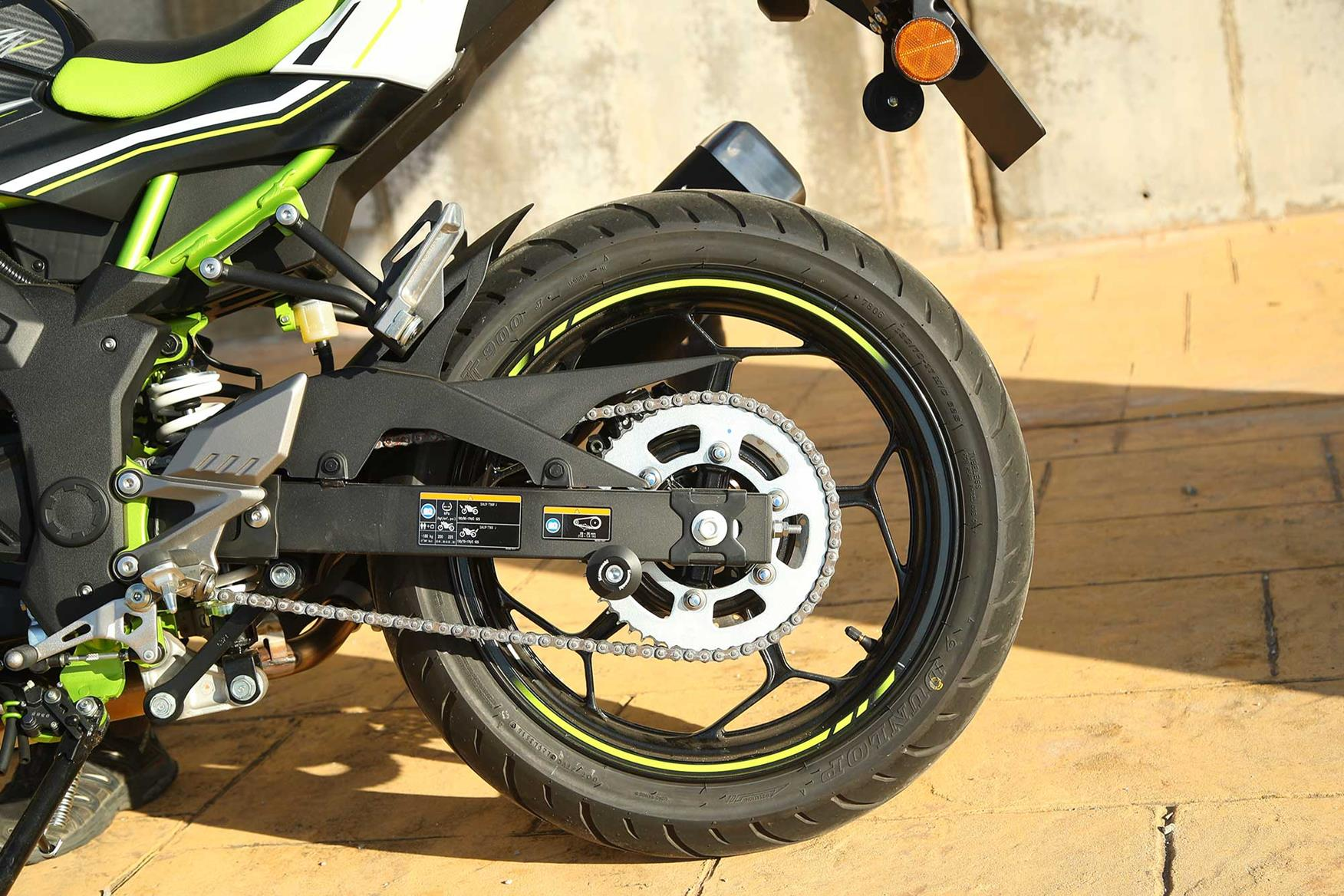 The Z125 rear wheel