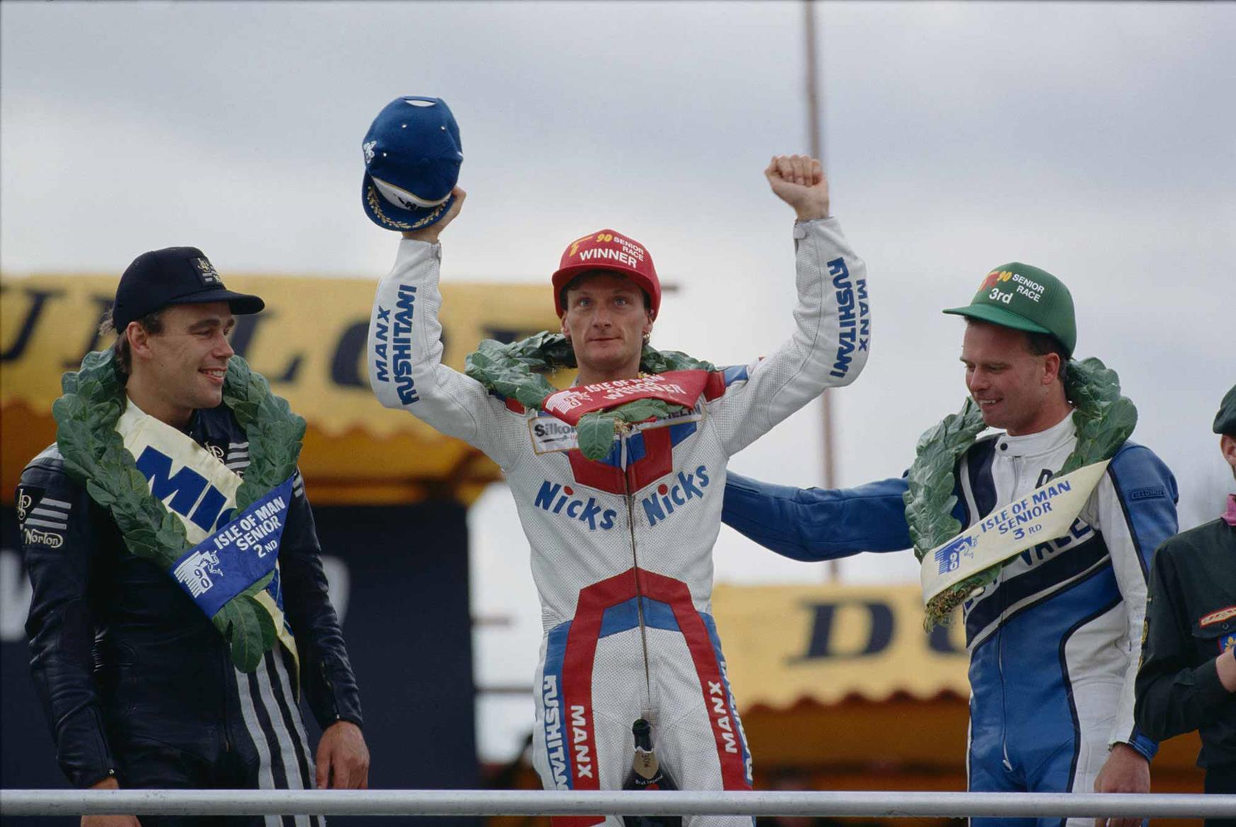 The 1990 Senior TT podium