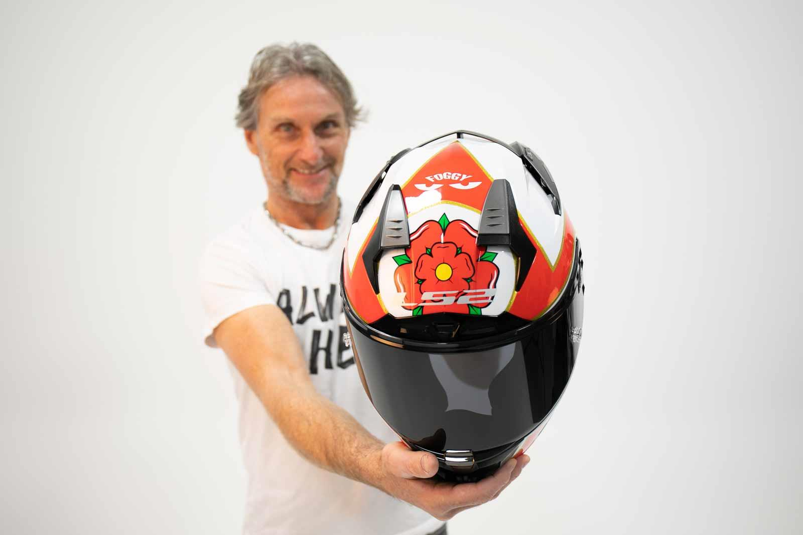Carl Fogarty with his LS2 helmet