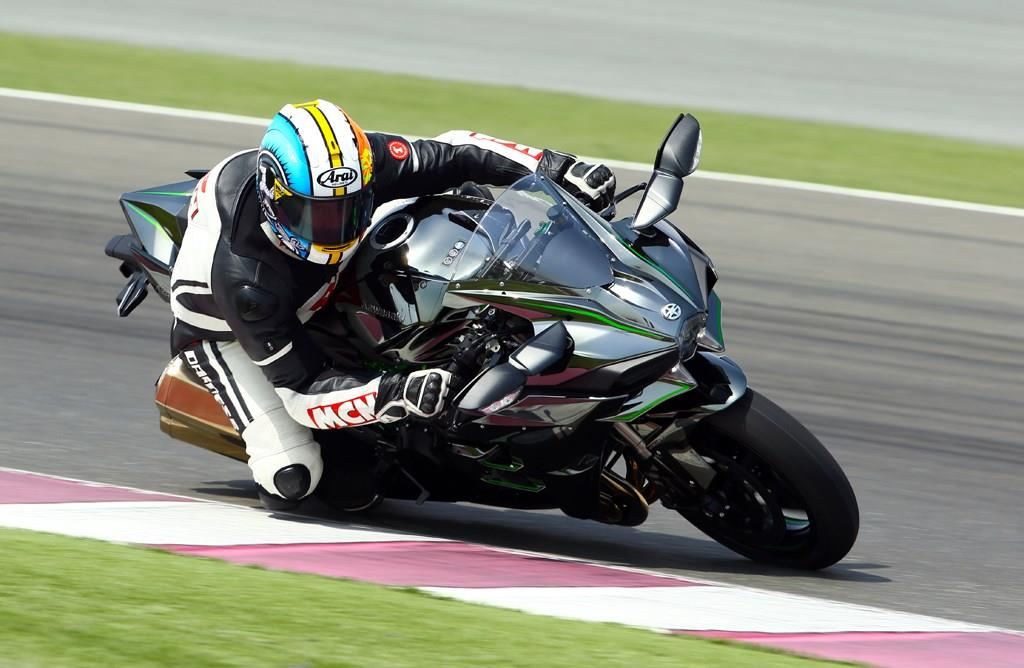 The Kawasaki Ninja H2 on track