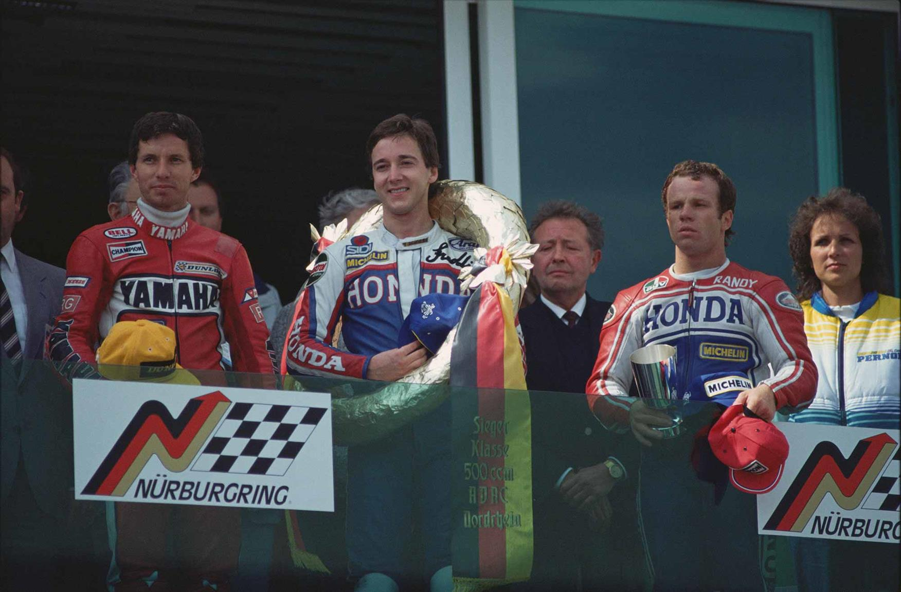 Mamola stands on the podium in West Germany 1994