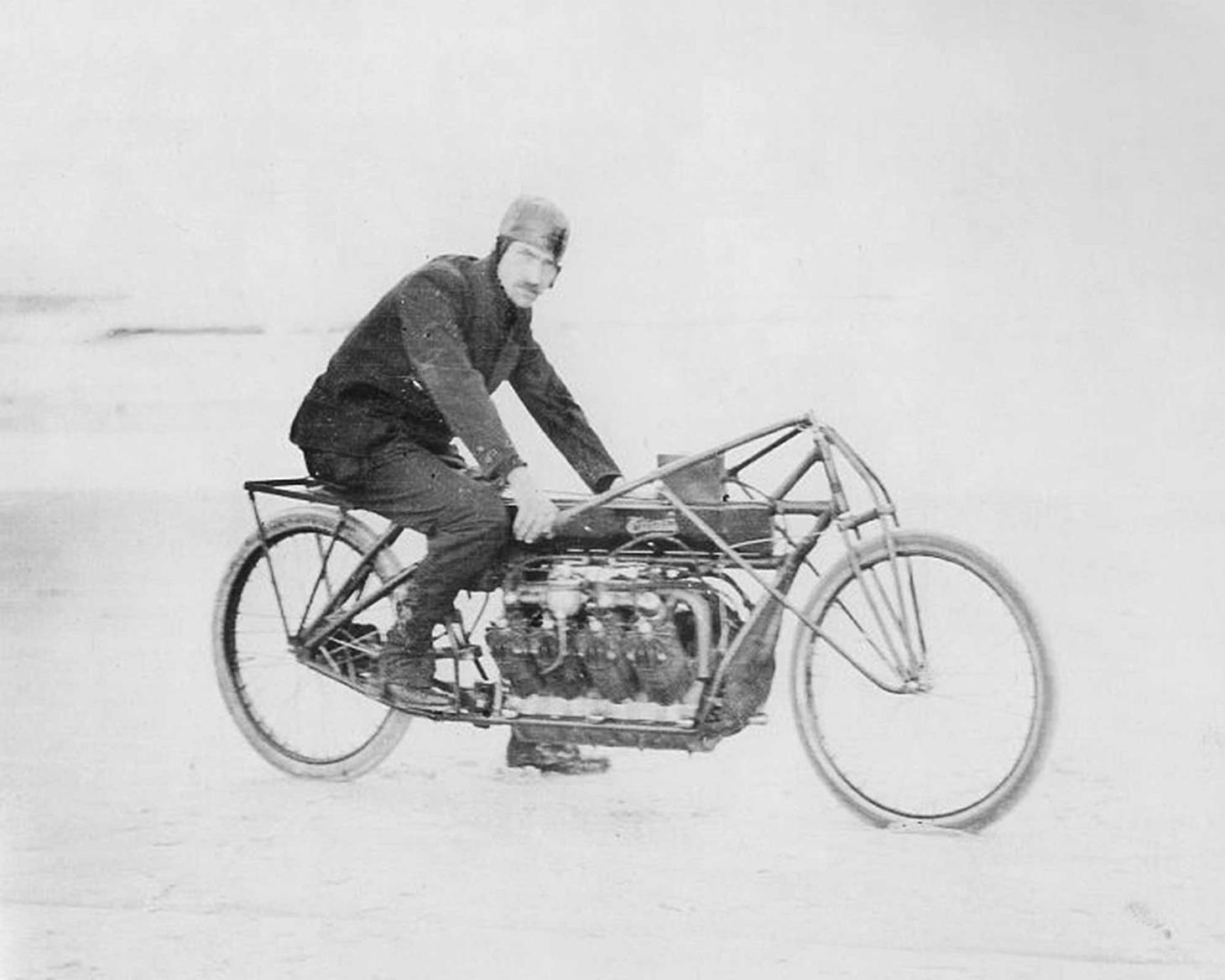 Glenn Curtiss astride his V8 motorbike in 1907