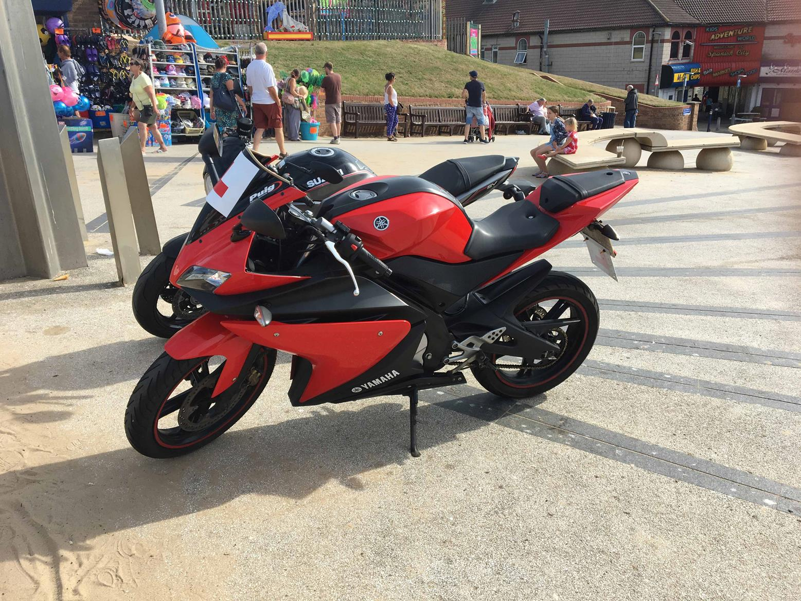 The Yamaha heads for a ride with the #MCNFleet Suzuki SV650X