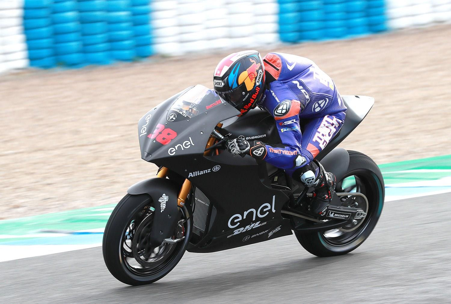 Bradley Smith in testing on his MotoE machine