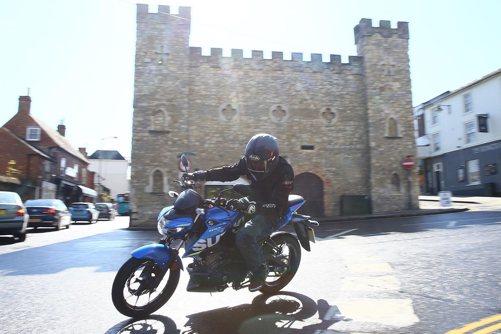 The Suzuki GSX-S125 in action at its launch