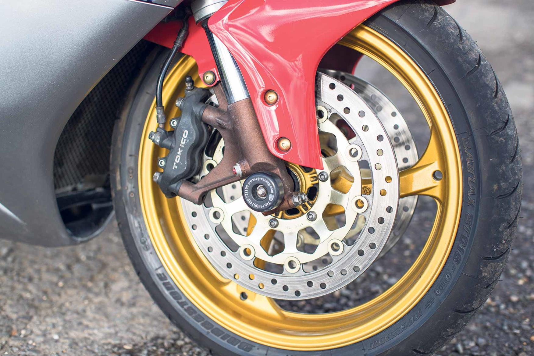 The front forks on the 2004 Fireblade