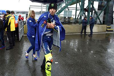 A damp Valentino Rossi at the Bristish Grand Prix that never was