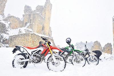 Motorbikes in the snow