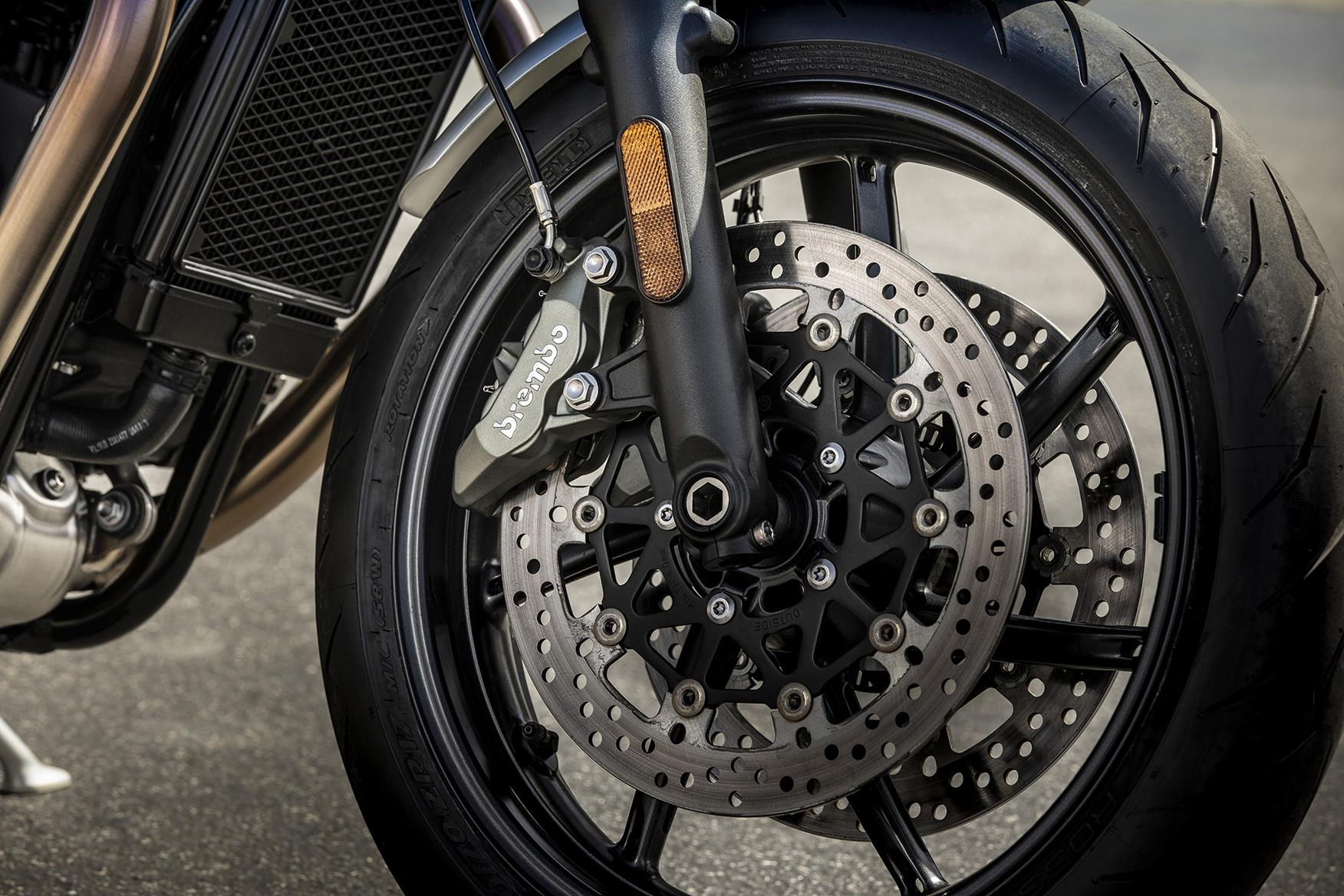 Lighter alloy wheels help shed weight on the Triumph Speed Twin