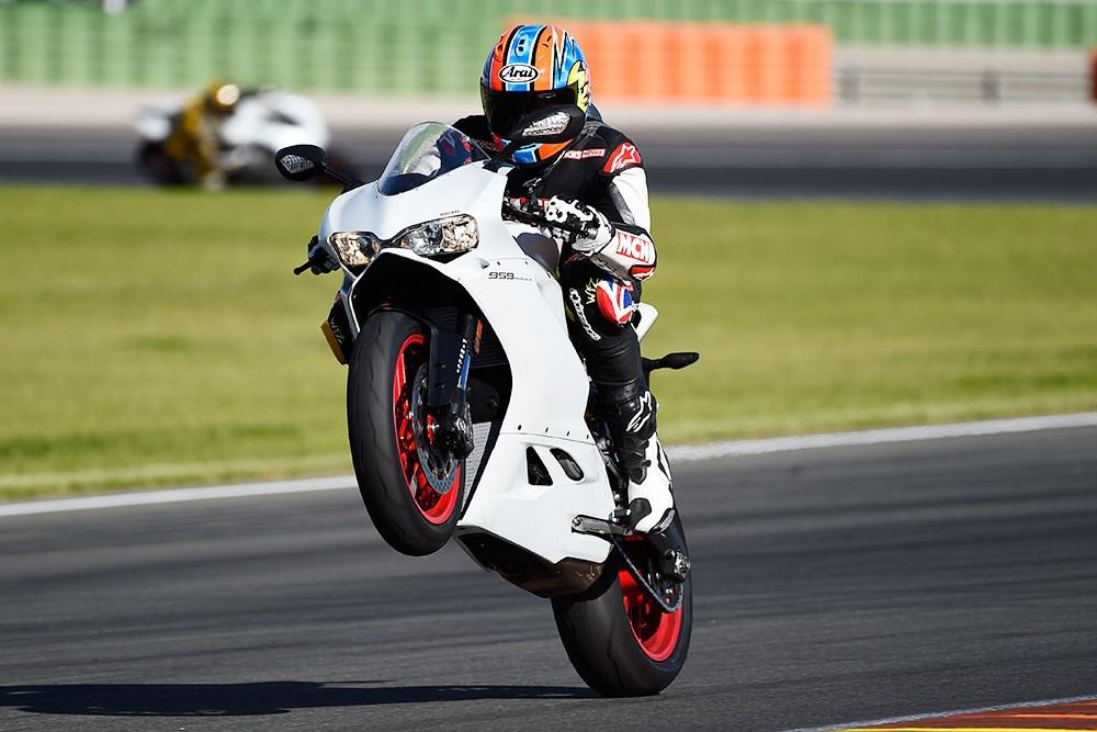 Popping a wheelie on the 959 Panigale