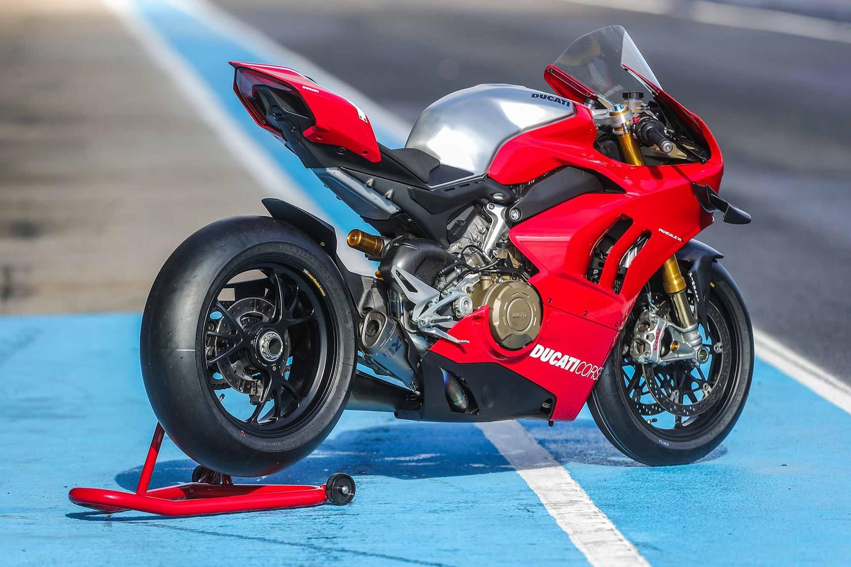 The rear end of the Ducati Panigale V4R
