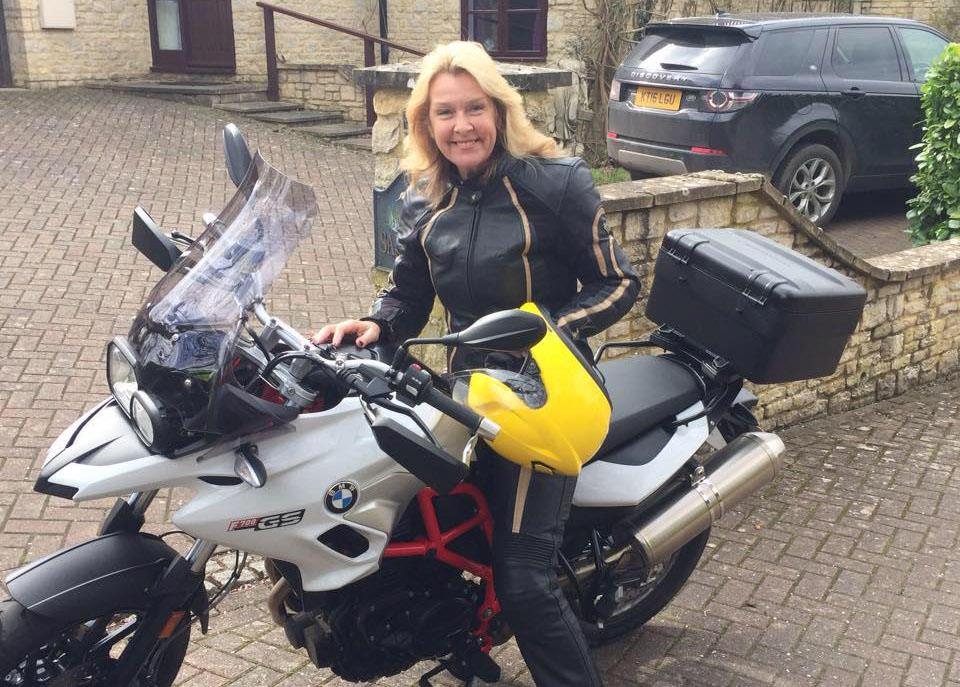 Sue Gibbons astride her BMW F700GS