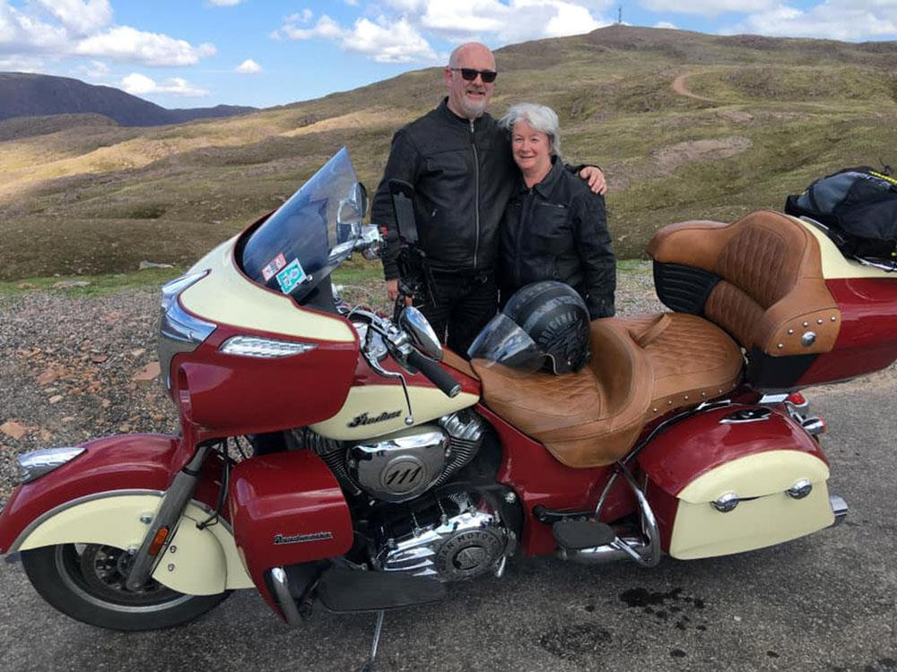 Alan Walker with wife, Sue and his Indian Roadmaster