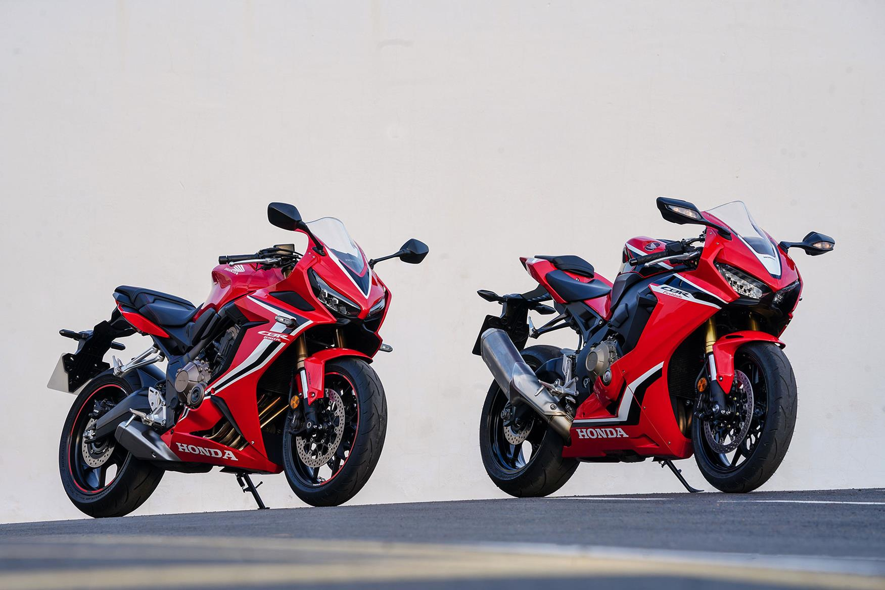 The Honda CBR650R with the Honda CBR1000RR Fireblade