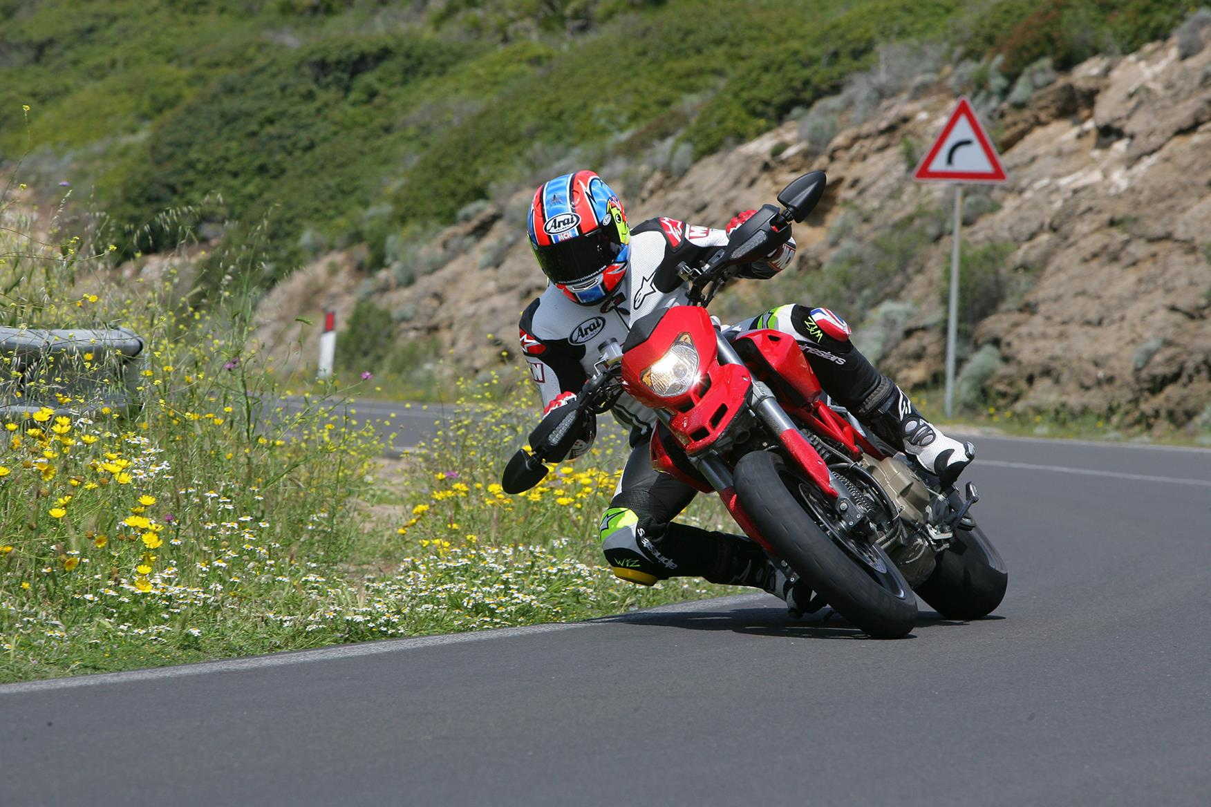 In action on the Ducati Hypermotard 1100