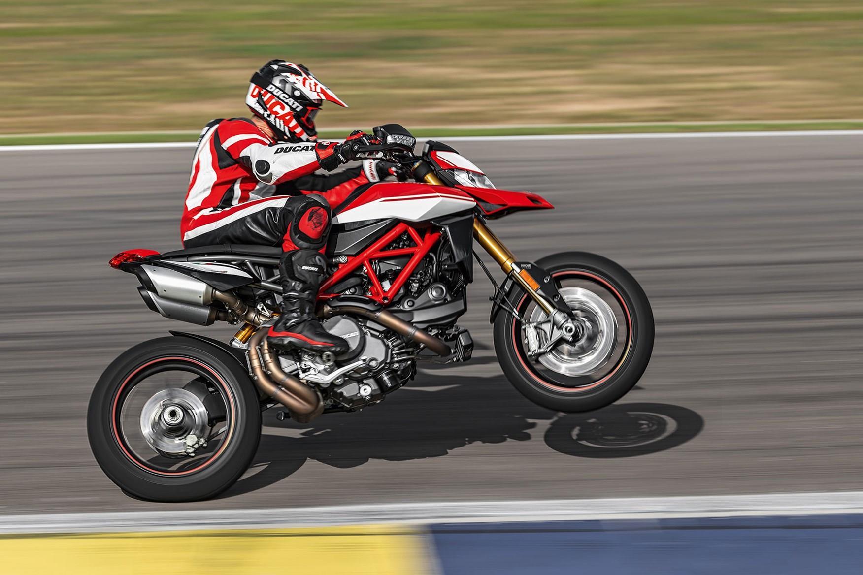 A Ducati Hypermotard 950 wheelie