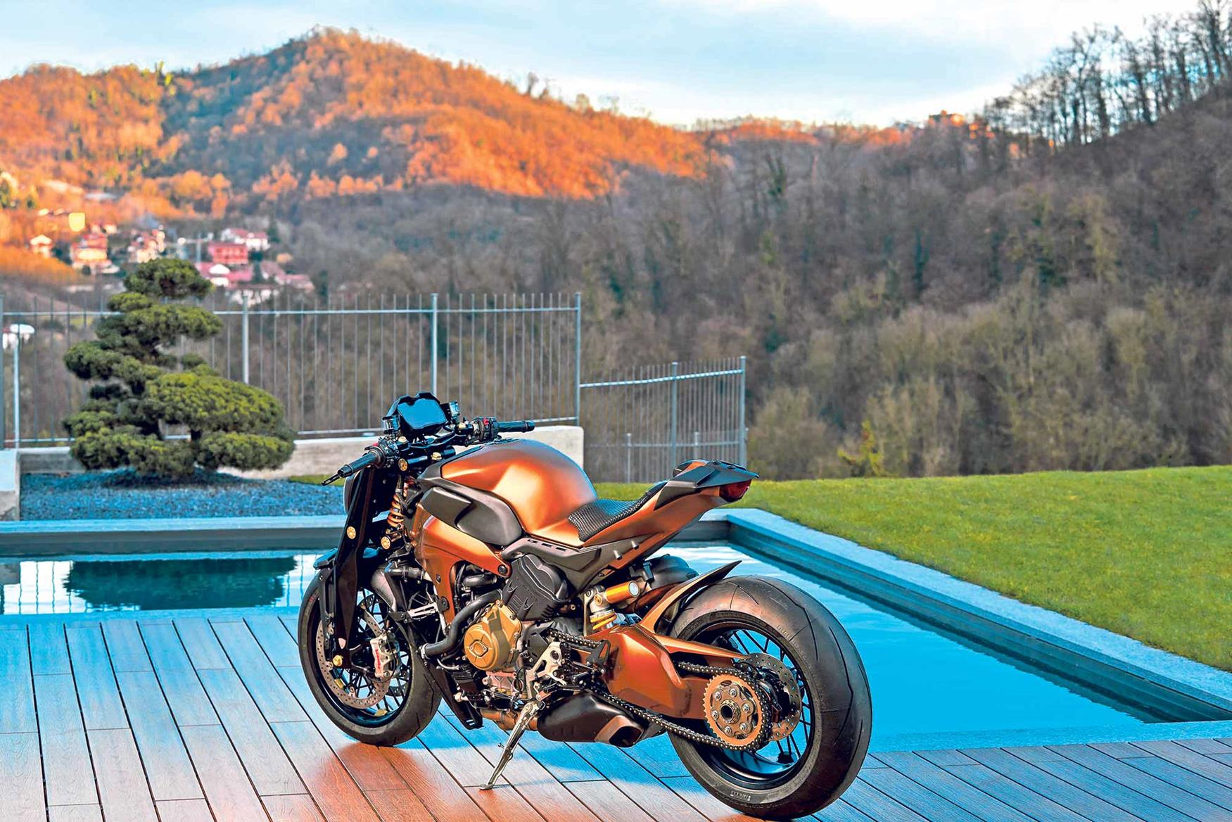 The bike has a special copper finish