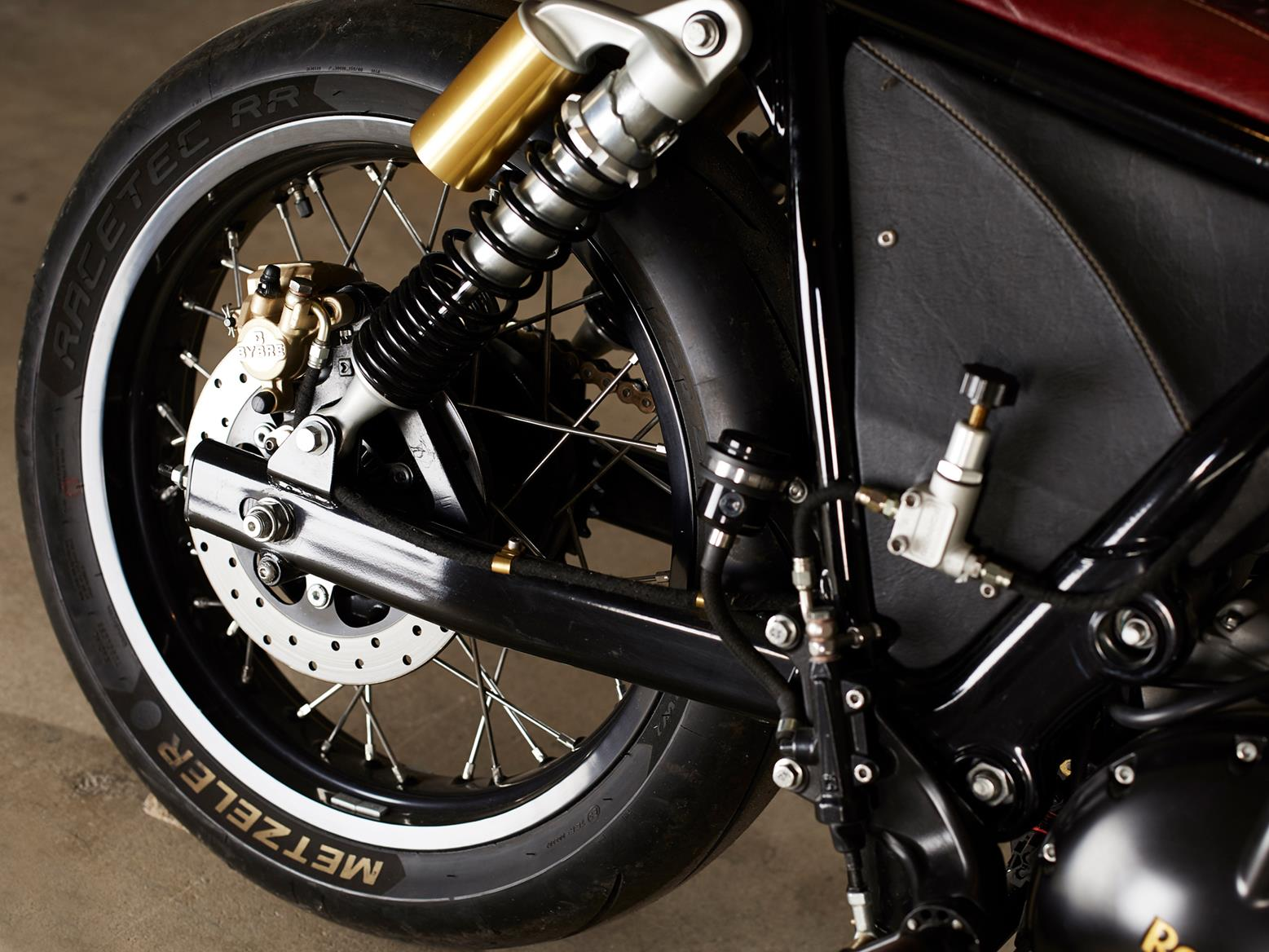 The rear wheel assembly of the 2019 OEM custom Royal Enfield Interceptor 650 twin