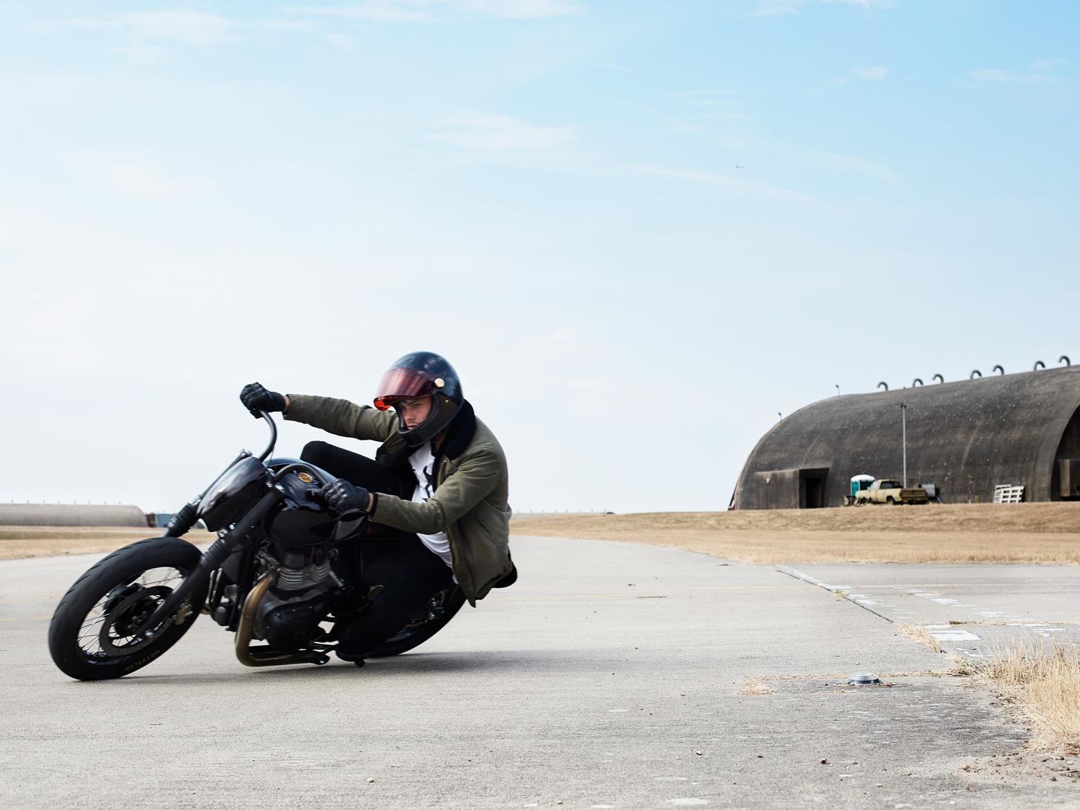 Old Empire Motorcycles custom Royal Enfield Interceptor 650 twin cornering shot