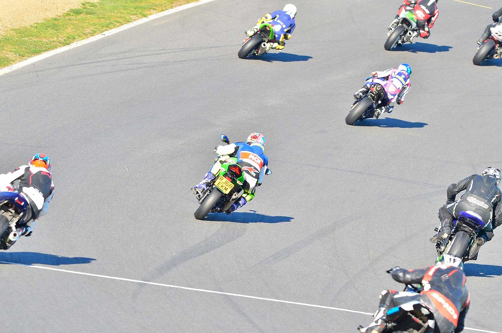 MCN's Michael Neeves in a sea of trackday machines