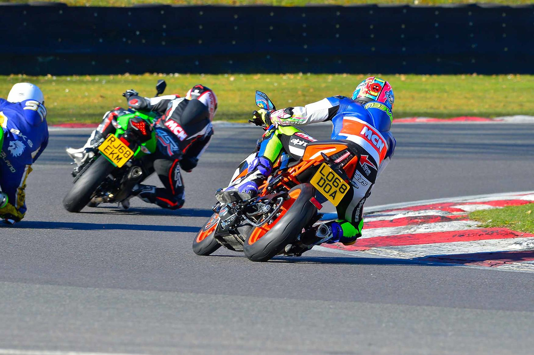 Cornering on the Kawasaki and KTM