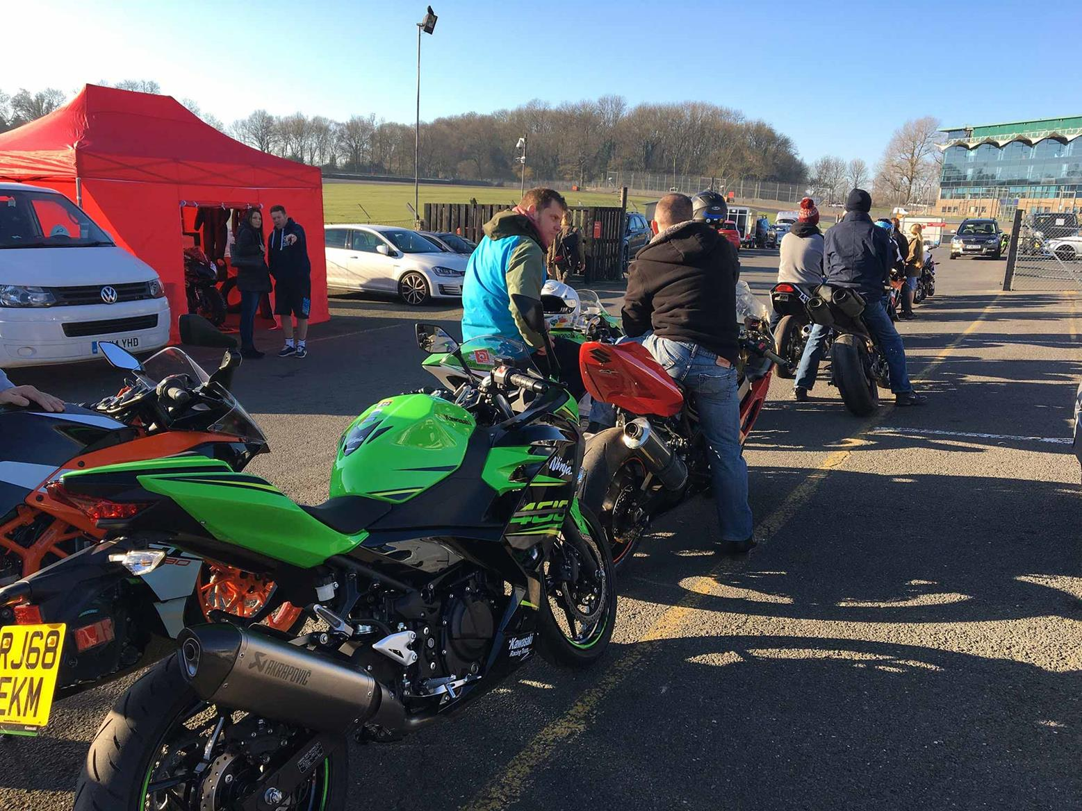 Queueing for noise testing with the bikes
