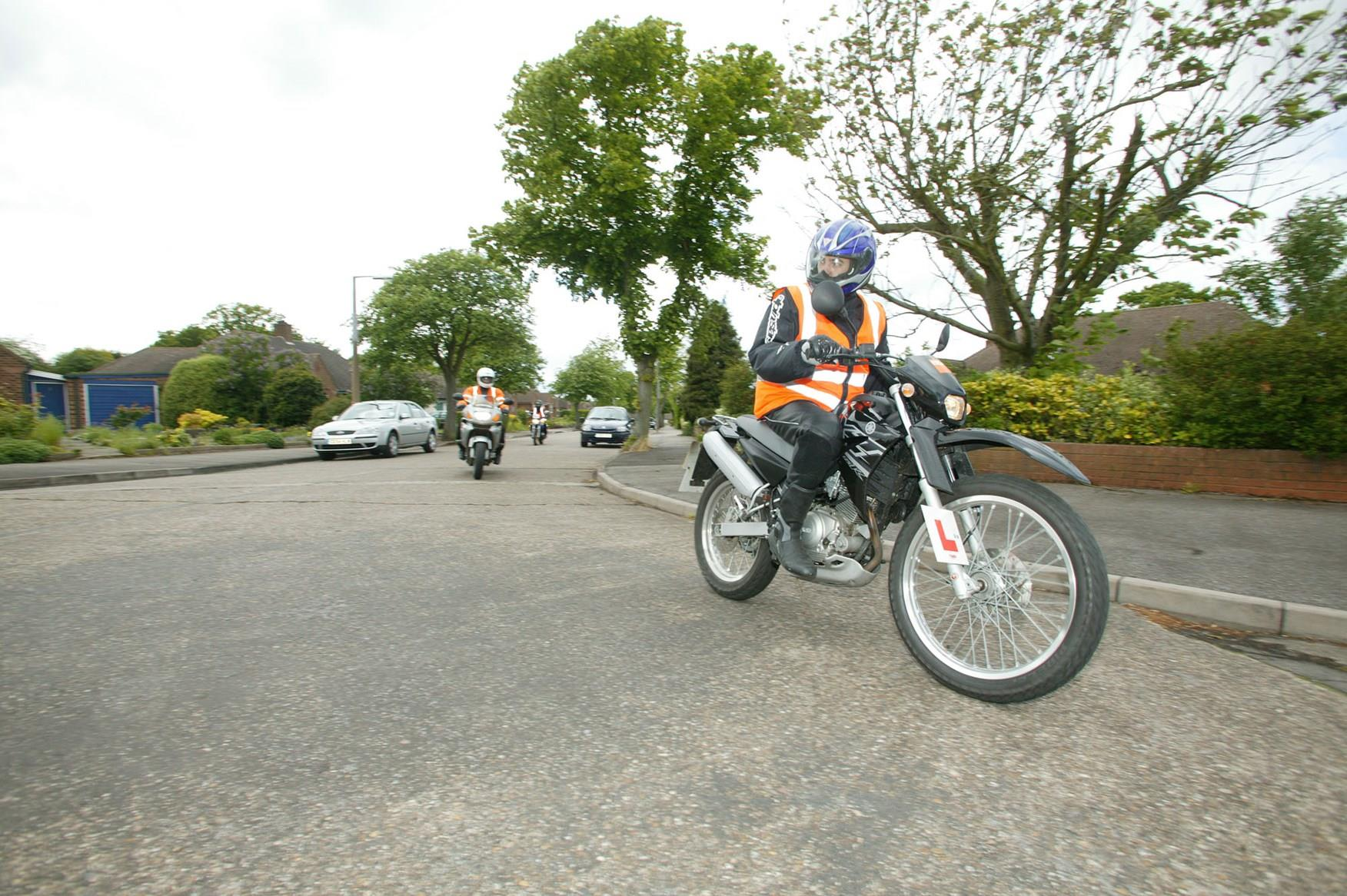 Part of the module 2 motorcycle test involves on-road riding