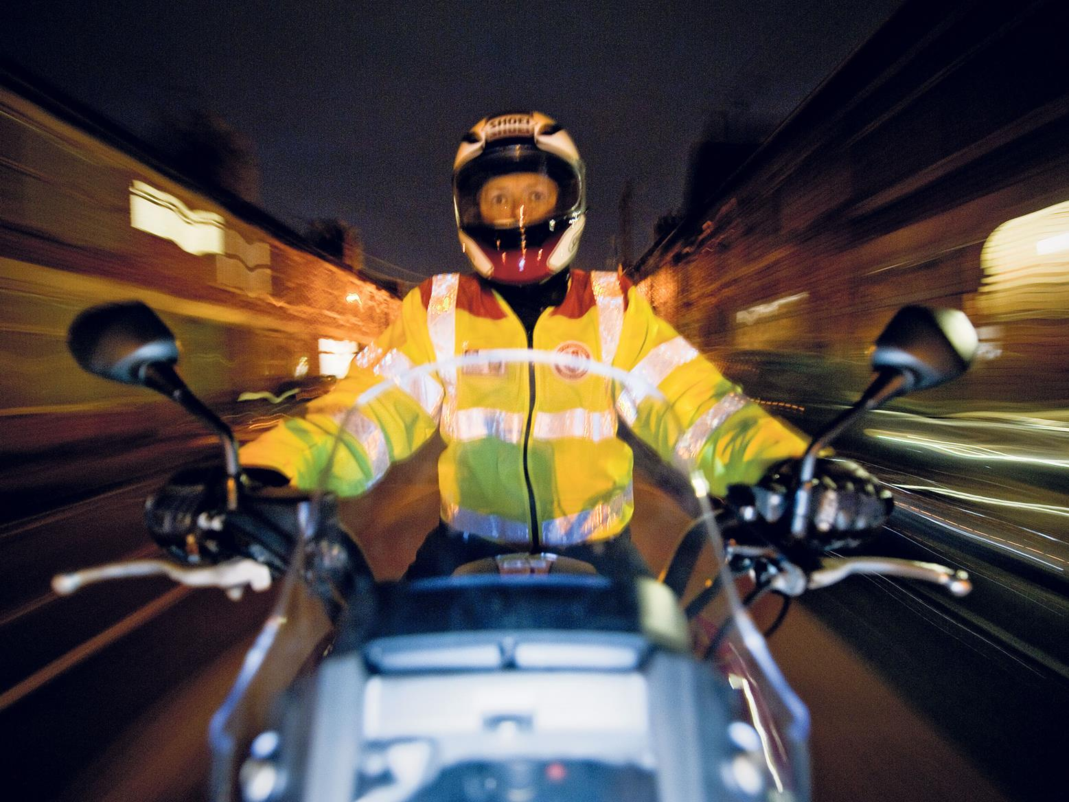 It's important to keep your helmet visor clear when riding at night