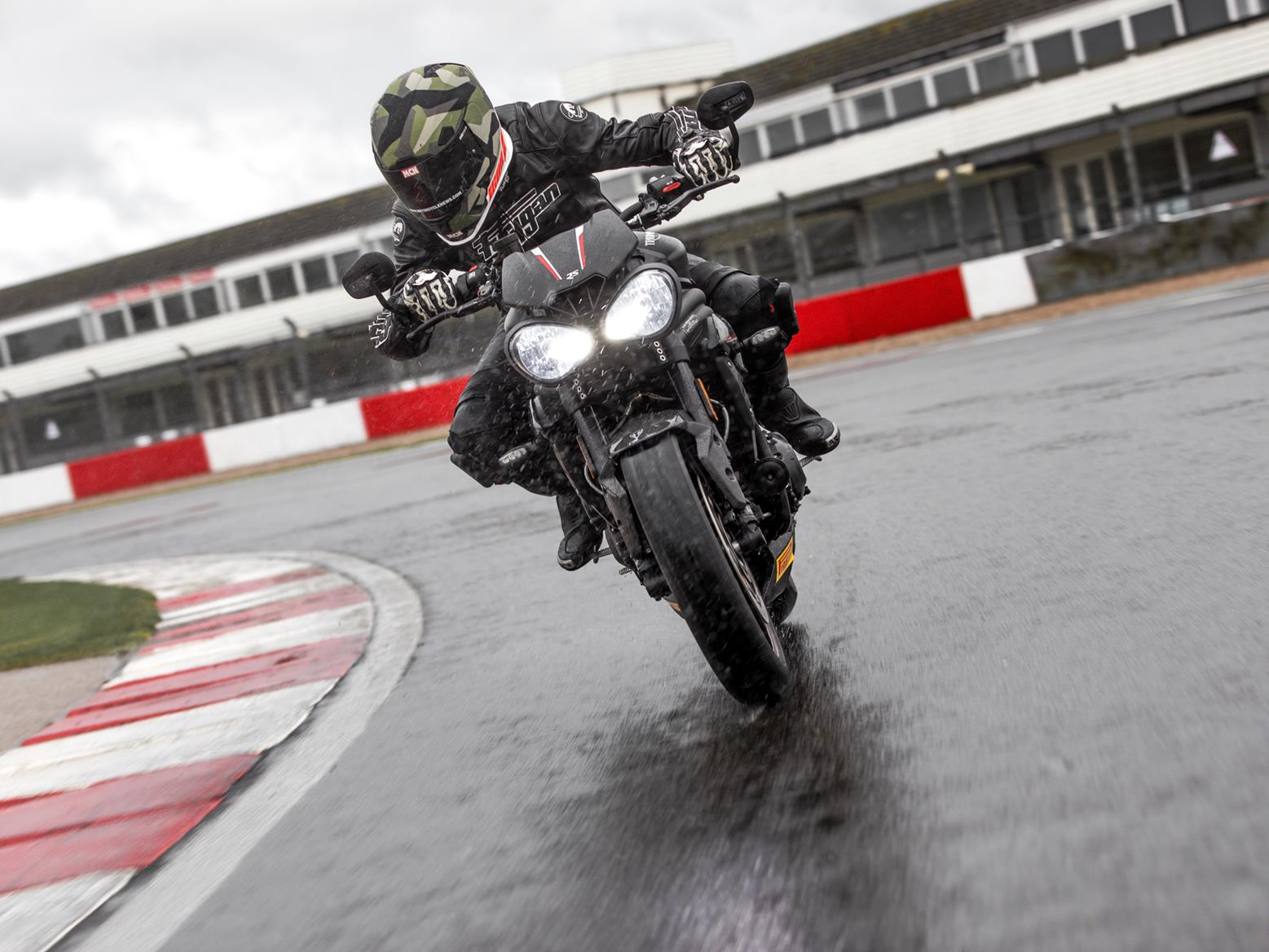 Be very careful with your racing lines while riding on a circuit in the wet