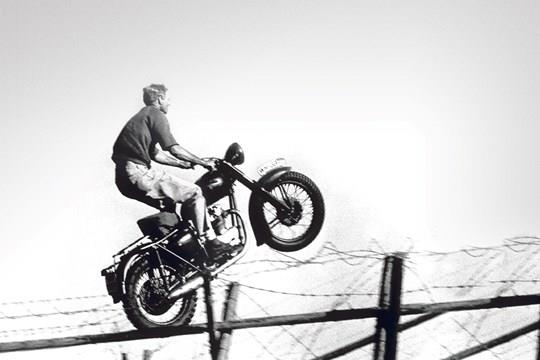 The famous jump for freedom from The Great Escape