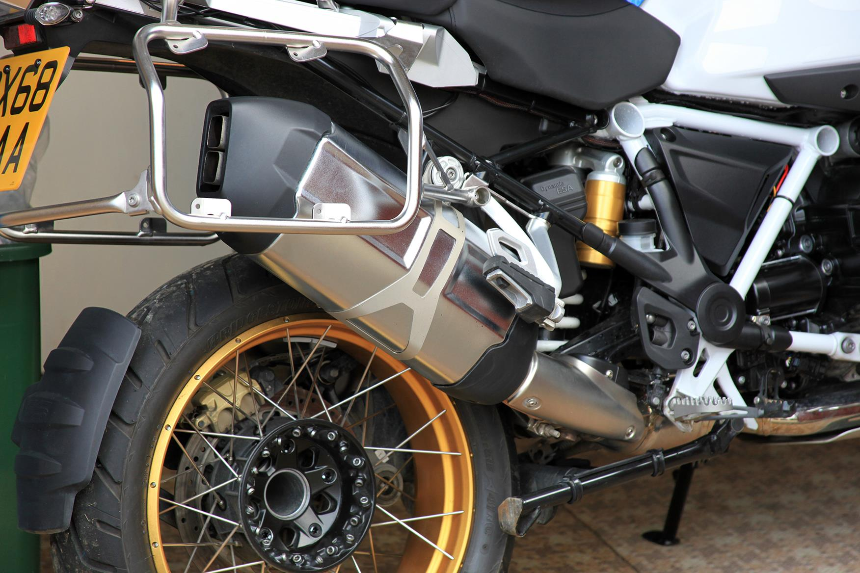 The standard BMW R1250GS Adventure exhaust