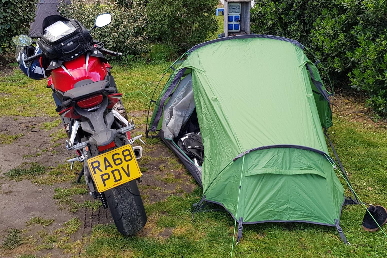 Honda CBR650R and tent