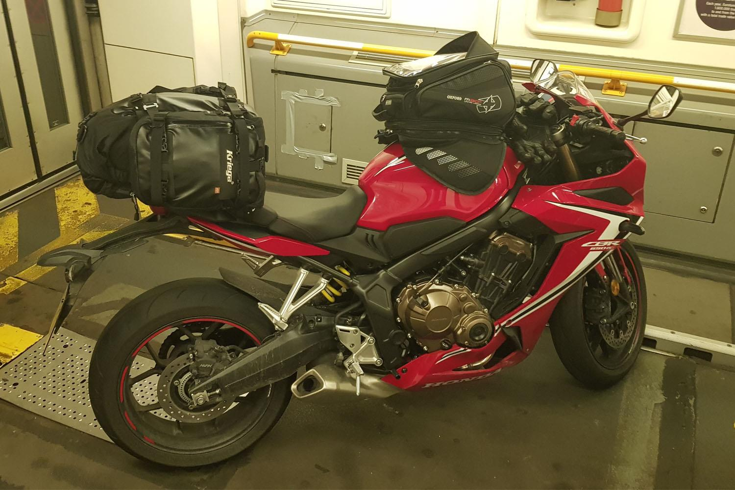 Honda CBR650R in the Channel Tunnel with luggage