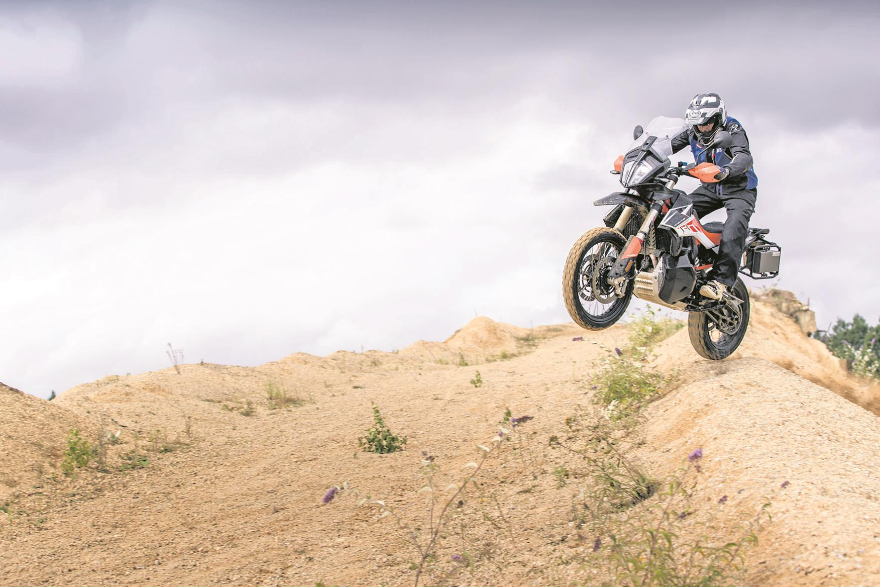 Catching air on the KTM 790 Adventure