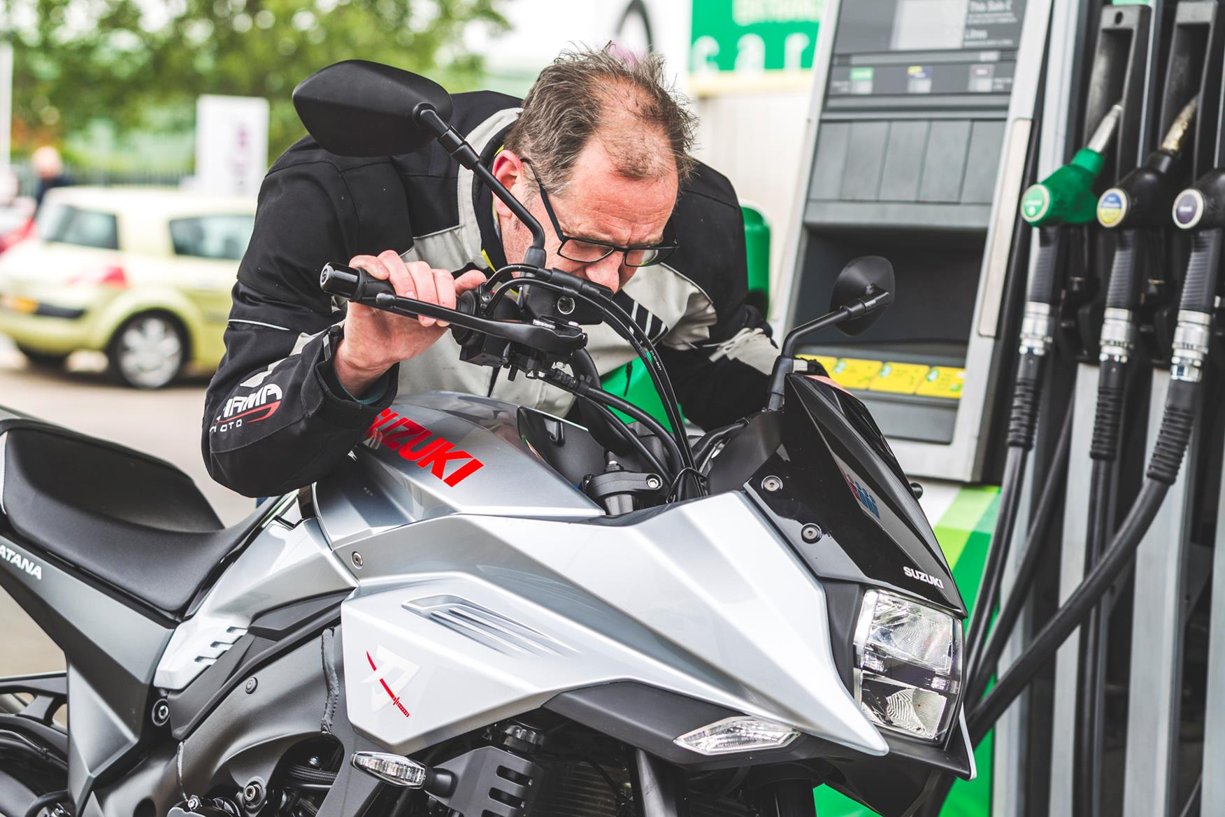 Checking the clocks on the Suzuki Katana