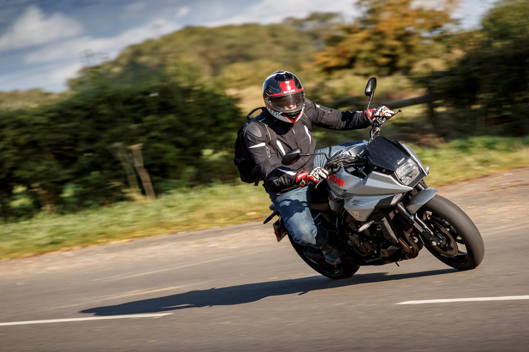 Riding the Suzuki Katana in the countryside