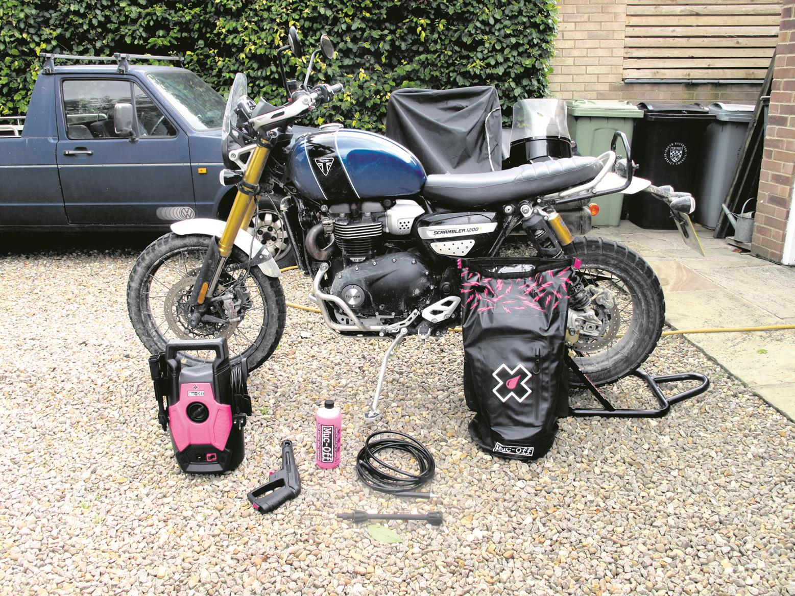 Preparing to clean the Scrambler 1200 XE