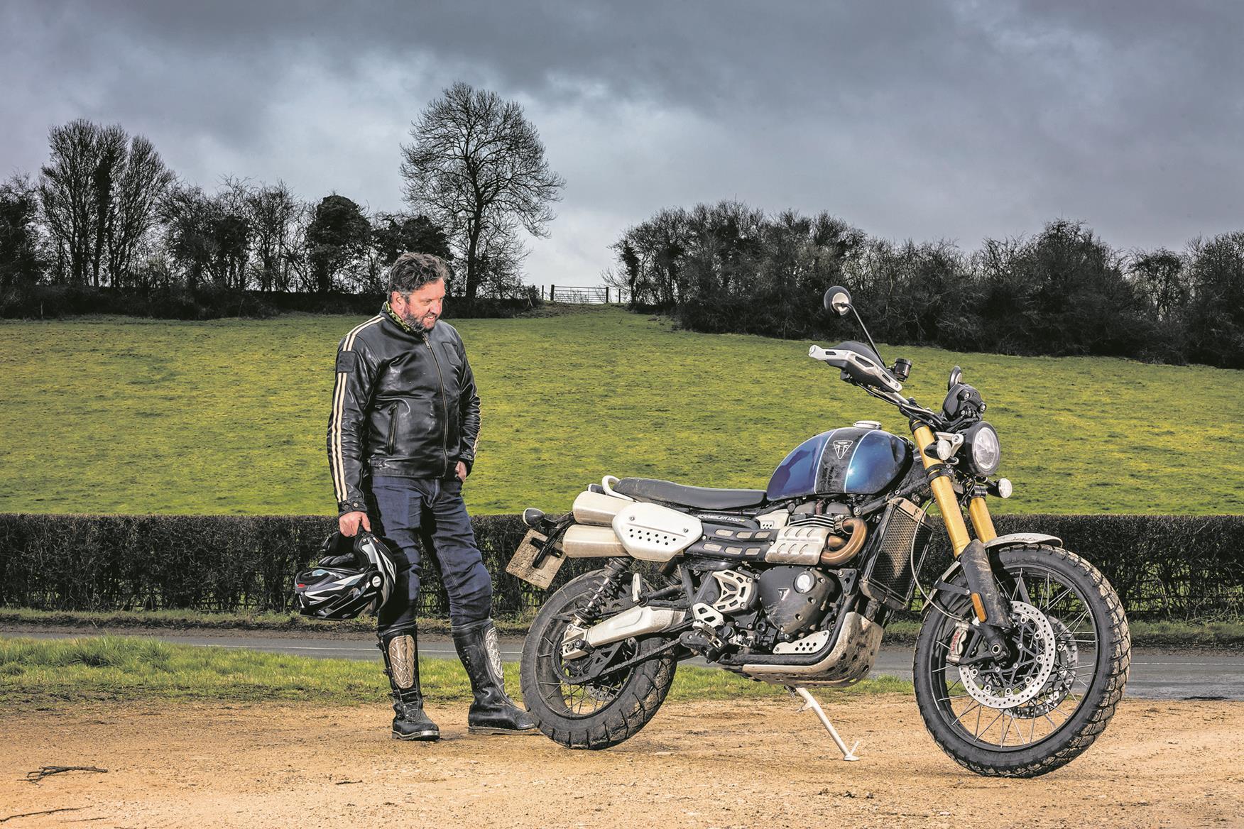 Simon admires the Triumph Scrambler 1200 XE