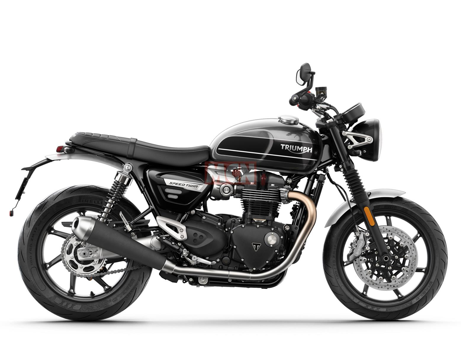 A side-on view of the Triumph Speed Twin